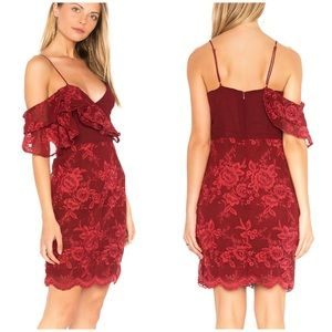 Revolve Winona Burgundy Lace Off Shoulder Dress
